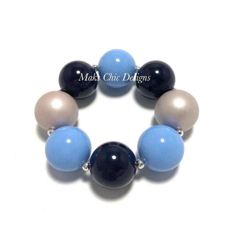 Blue and Silver Bubblegum Chunky bracelet  Navy and Grey image 0