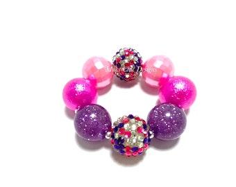 Hot Pink and Purple Chunky Bracelet - Glitter Chunky Bracelet - Confetti Chunky Bracelet - Hot Pink Bubblegum Bracelet - Candy bracelet
