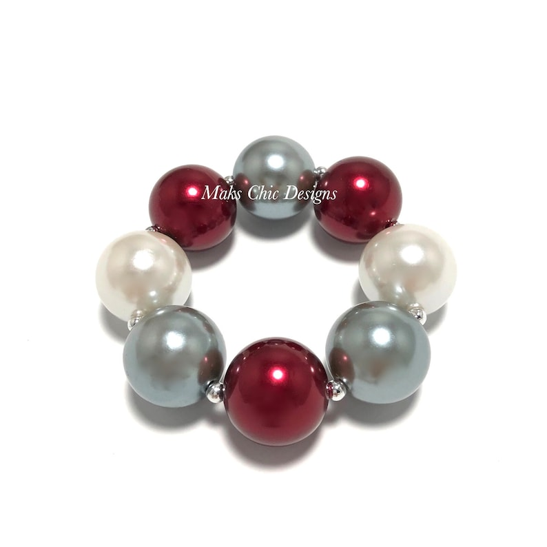 Maroon Silver and White Chunky bracelet  Plaid Chunky image 0