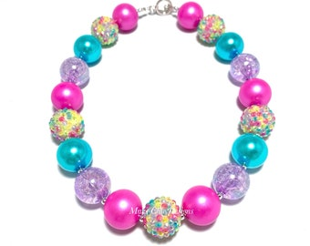 Colorful Chunky Necklace - Neon Pageant Chunky Necklace - Yellow, Pink, Purple, Turquoise Chunky Necklace - Mermaid Bubblegum Necklace