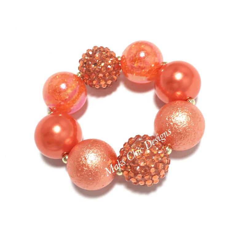 Pretty In Orange Chunky Bracelet Flower girl bracelet Orange sparkle chunky bracelet Burnt Orange Chunky Bracelet Citrus bracelet