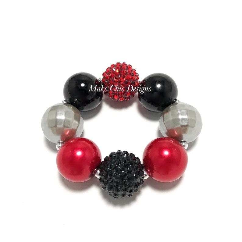 Red Black and Silver Chunky Bracelet  Fall Bracelet  Plaid image 0