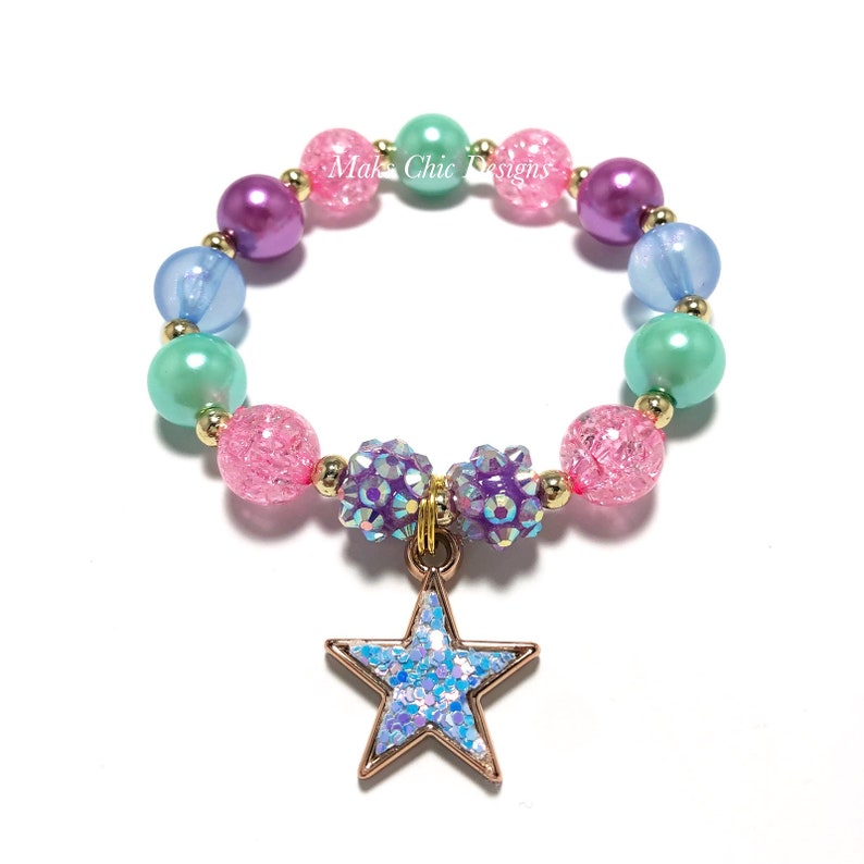 Mermaid Star Bracelet Aqua and Blue Bracelet Galaxy Bracelet Pink Blue Sequin Star Charm Bracelet Blue star bracelet Girls Purple