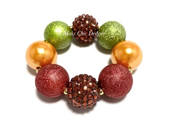 Fall Chunky Bracelet - Brown, Red, Yellow, Green Bubblegum Bracelet - Fall Rainbow bubblegum bracelet - Thanksgiving Chunky Bracelet