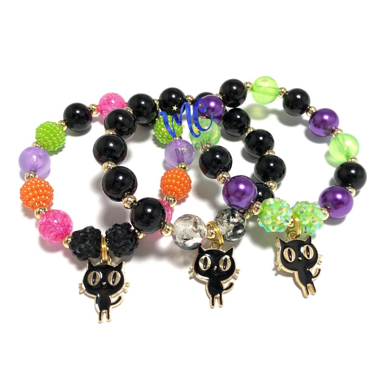 Black Cat Charm Bracelet  Halloween Kitty Bracelet  Black image 0
