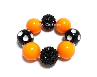 Orange and Black Chunky Bracelet - Polkadot Chunky Bracelet - Halloween chunky Bracelet - Pumpkin bracelet