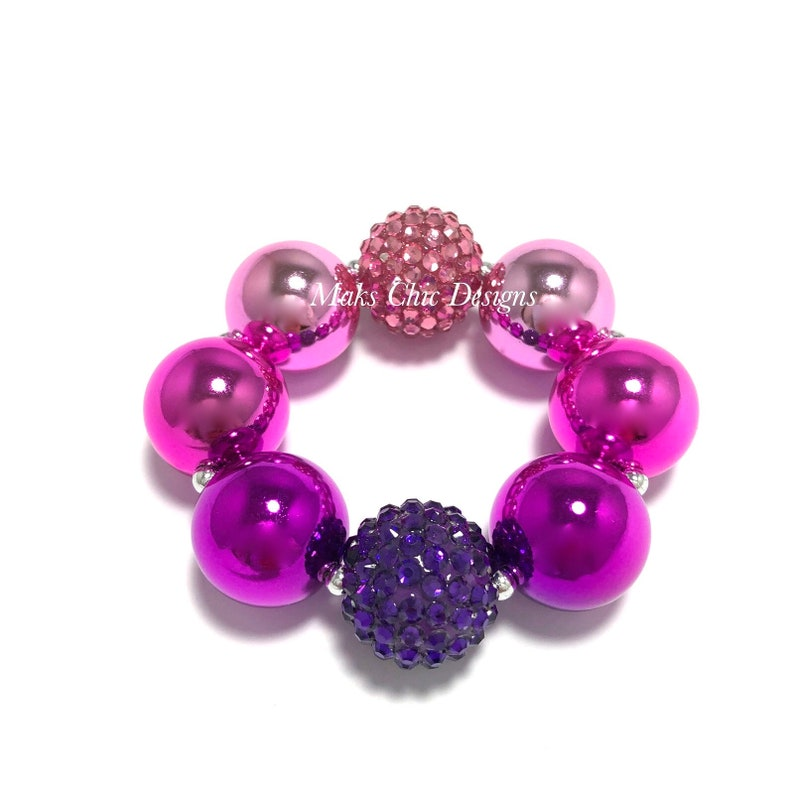 Pink and Purple Chunky Bracelet  Princess Chunky Bracelet  image 0
