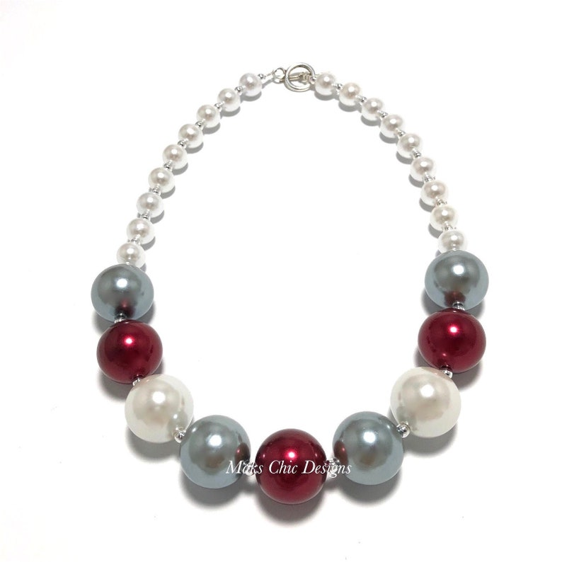 Maroon Silver and White Chunky Necklace  Fall Plaid Necklace image 0