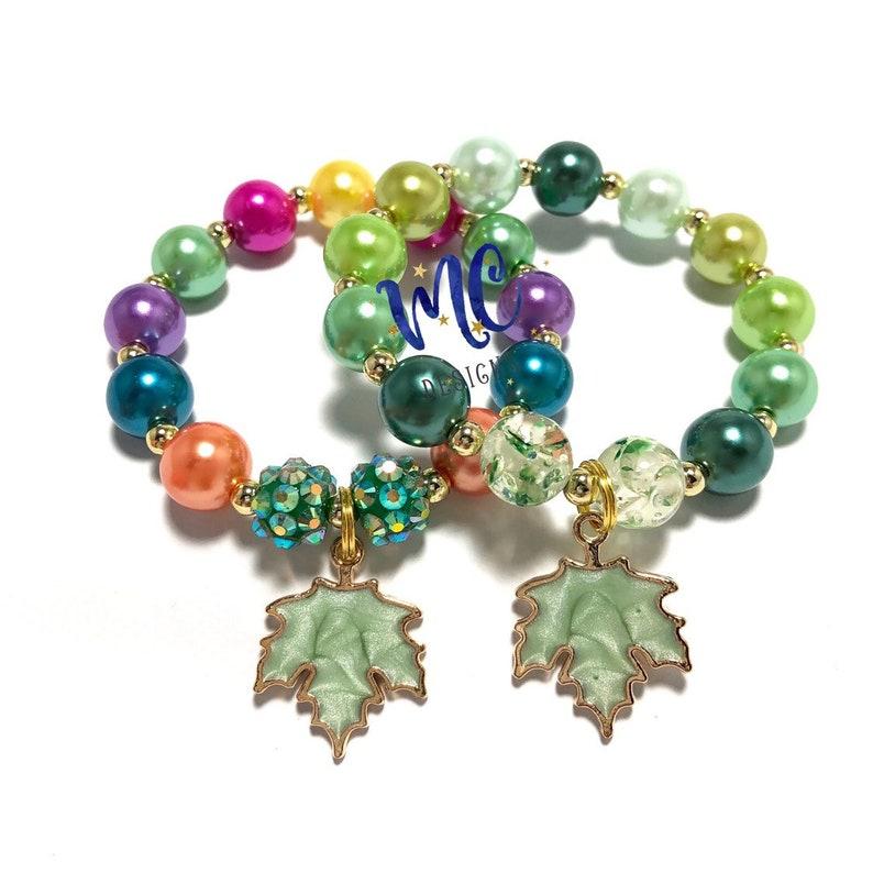 Fall leaf Charm Bracelet  Shades of Green Bracelet  Colorful image 0