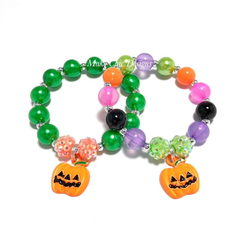 Pumpkin Charm Bracelet  Halloween Bracelet  Green and Orange image 0