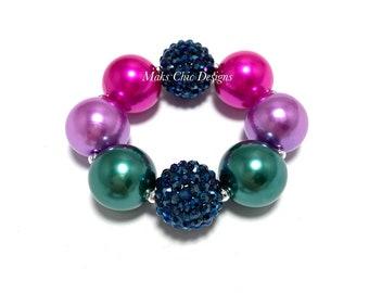Fall Chunky Bracelet - Fairy Bubblegum Bracelet - Navy, green, purple, hot pink bracelet - Fall Rainbow bubblegum bracelet