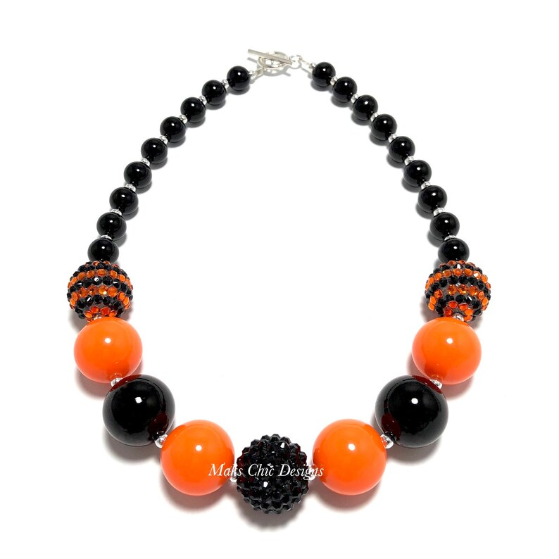 Halloween Chunky Necklace  Orange and Black Classy Chunky image 0