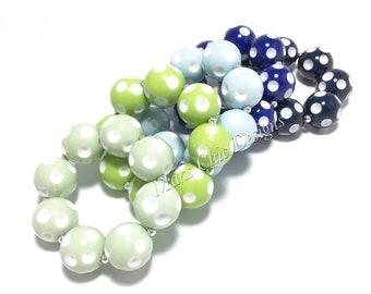 Toddler or Girls Polka dot Chunky bracelets - Dot Bracelet - Mint, Lime Green, Blue, Navy Bracelet - Toddler Bracelet - Bubblegum Bracelets