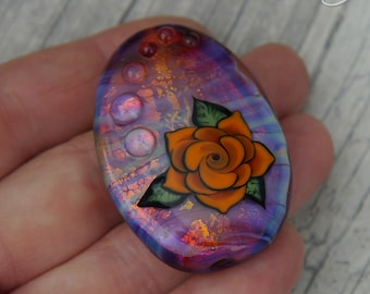 Tattoo Style Rose Bead, Orange on Hot pink with shimmering gold, Lampwork Focal Bead, handmade glass pendant bead
