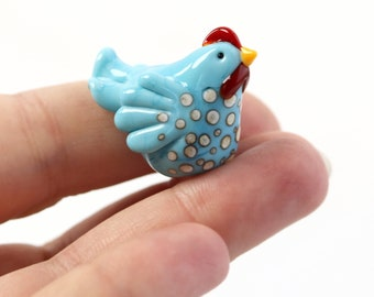 Chicken Focal Bead - Turquoise Spotty Hen Lampwork glass Bead - Handmade in Devon UK