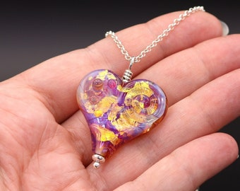 """Hot Pink and Gold Heart shaped Lampwork Pendant with Sterling Silver - Choose Chain length 16"""", 18"""", 20"""""""