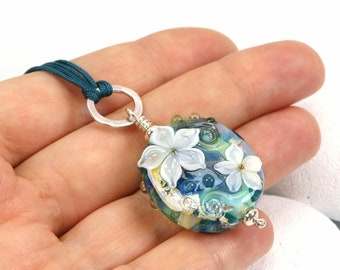 Water Garden Floral Lampwork Glass Pendant with Sterling Silver