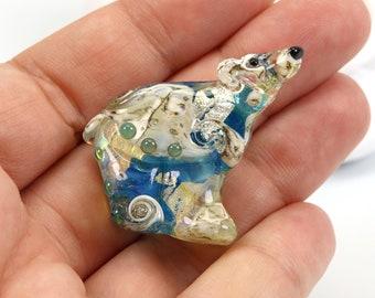 Polar Bear - Small Treasure Map Design, Aqua and gold, sculpted, Lampwork Bead Focal