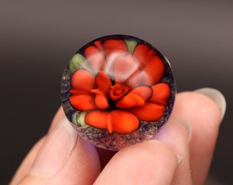 Everlasting Russet Red Rose Marble, sparkly blue lampwork glass artisan made marble