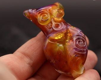 Goddess Lampwork Focal Bead - Pink, Amber and Gold with Swirls