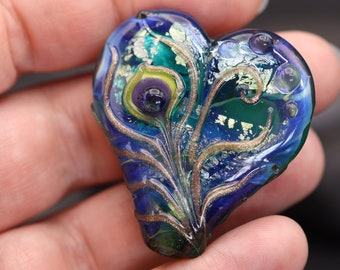 Peacock Feather Heart Bead, Teal blue and Gold , Handmade lampwork glass bead, Focal Bead