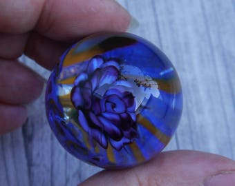 Everlasting Purple Rose in Vortex Marble, unusual gift, collectible glass art, sphere, lampwork, flower, implosion