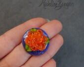3D Rose, Orange on Purple...