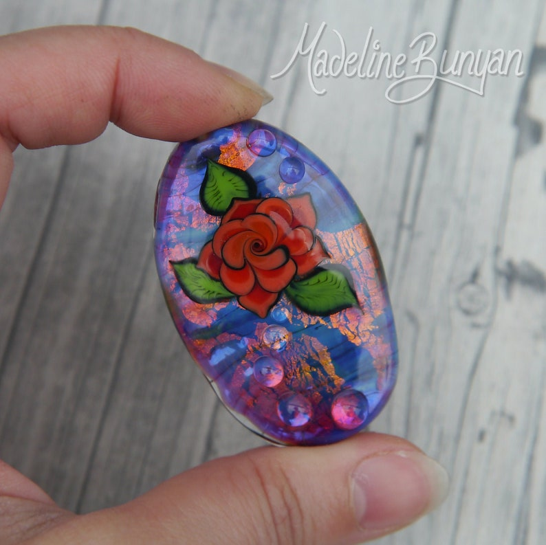 Tattoo Style Rose Bead Purple and Orange with Teal Hot pink image 0