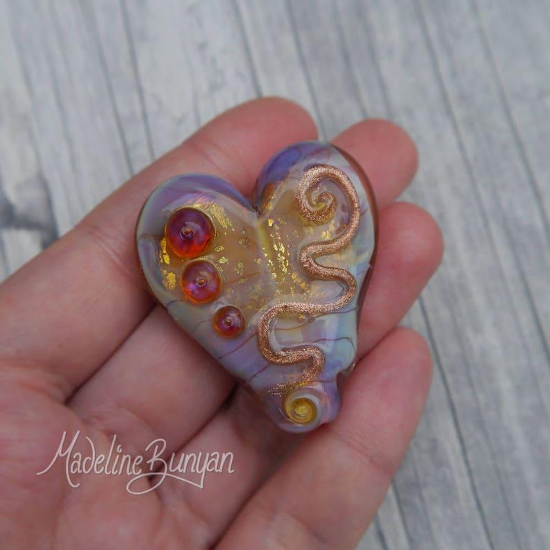 Golden Scribble Heart pretty Lampwork Focal Bead Pink gold image 0
