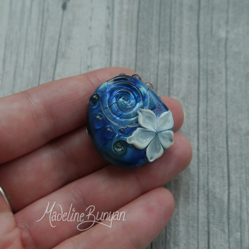 Pretty blue & White Flower Bead pendant bead floral bead image 0