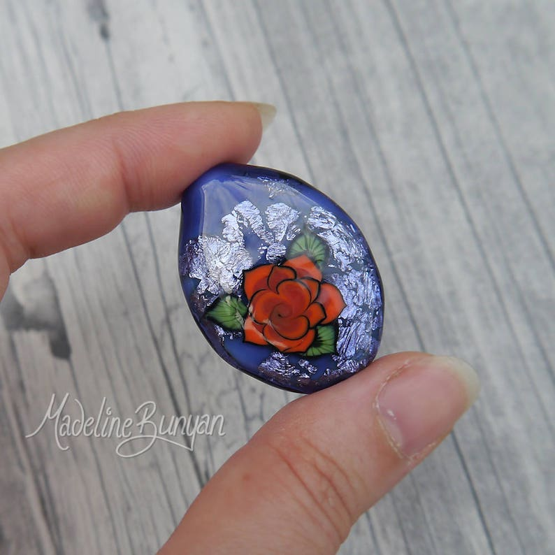 Orange Tattoo Style Rose on Purple Lampwork Focal Bead image 0