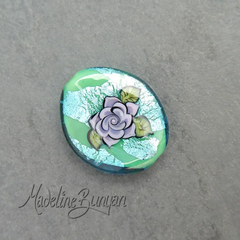 Lilac Tattoo Style Rose on Aqua Green Lampwork Focal Bead image 0