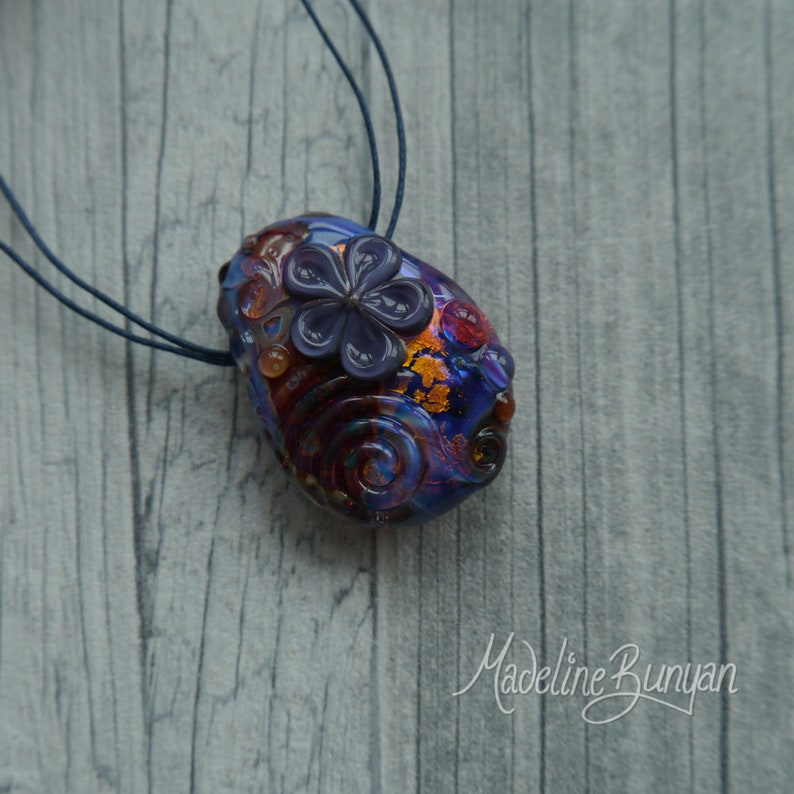 Purple Pink and Gold Flower Bead pendant bead floral bead image 0