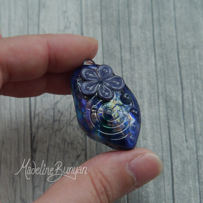 Purple Blue and Gold Flower Bead pendant bead floral bead image 0