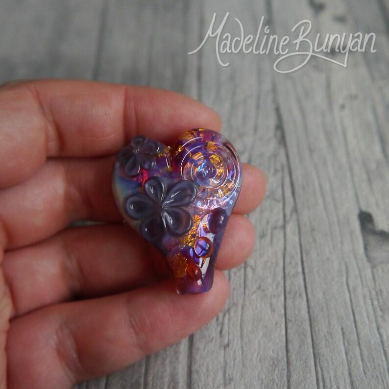 Pink and Purple Heart Bead Handmade lampwork glass bead image 0