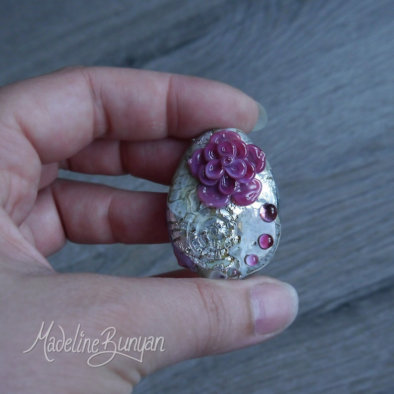 Rock Rose vintage silver Dark Pink Rose Swirls Lampwork image 0