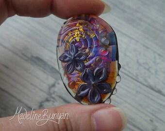 Hot pink and Gold Flower Bead, pendant bead, floral bead, gold, Purple flowers, Lampwork Focal Bead SRA, handmade artisan glass,