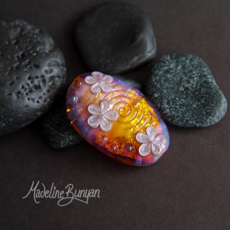Lampwork Flower Focal Bead Amber Gold Lilac image 0