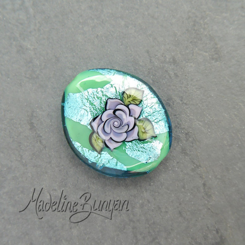 Lilac Tattoo Style Rose on Aqua Green Artisan Lampwork Focal image 0
