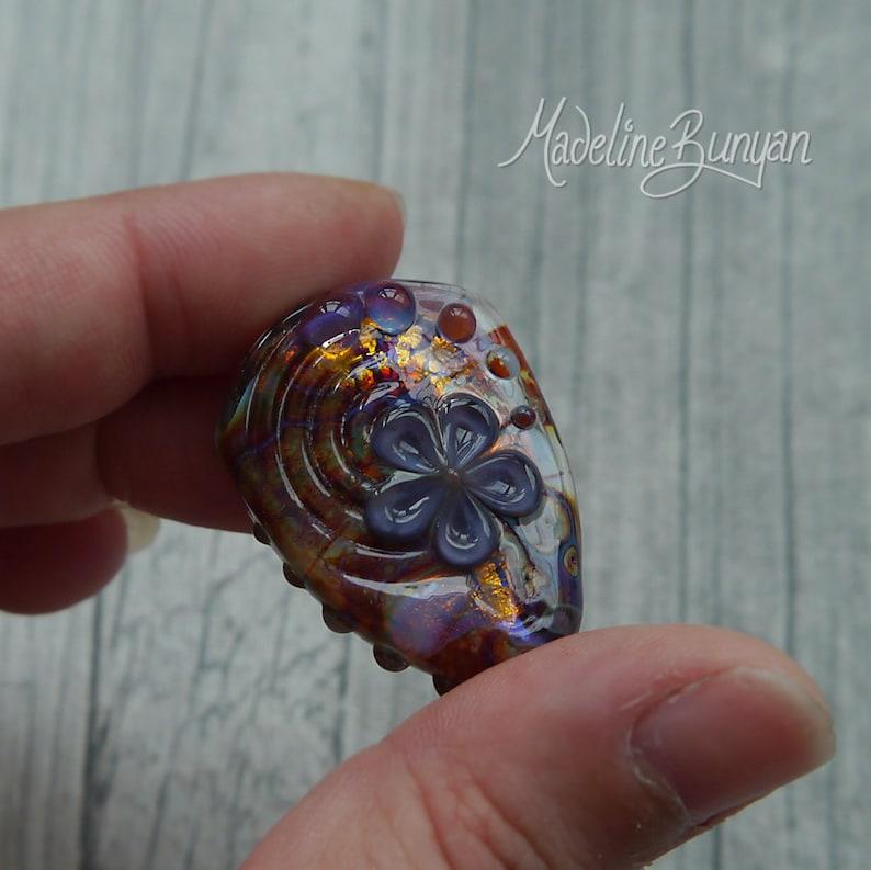 Autumn Garden 3D pretty flower Lampwork Bead burgundy  image 0