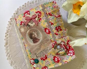 Handmade Vintage Junk Journal Memory Book Writing Journal Art Journal Diary Notebook Fabric Cover Shabby Chic