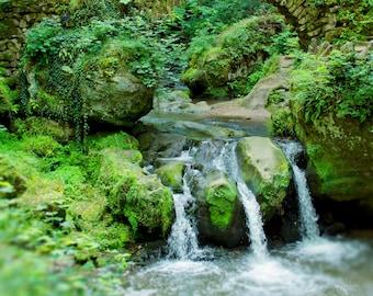 Woodland Photography, Travel Print, Waterfall, Rustic Nature Decor, Forest Art, Stone Bridge, Landscape Print, Fine Art Photo, Europe, Tree