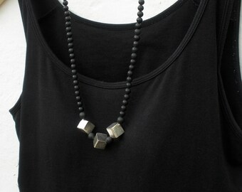 Karen Hilltribe Handmade Silver and Volcanic Black Stone Geometric Long Necklace