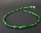 Green Chrome Diopide Natural Nugget 925 Sterling Silver Necklace, Russian Chrome Diopide Necklace