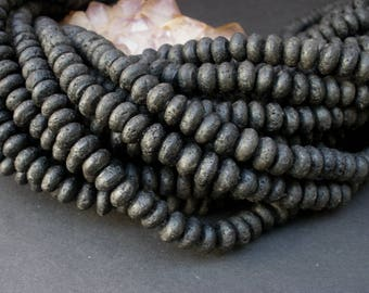 "1 or 2 Natural Black Lava Volcanic Basalt Beads 5/6mm x 8/9mm Rondelle - Full 16"" Strand / Liquidation Close Out Prices 1 - 2 Strands"