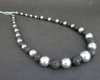 "Natural Black Lava and Shell Pearl Round Graduated Beads Full  17 1/2"" Strand  Liquidation Close Out Price"