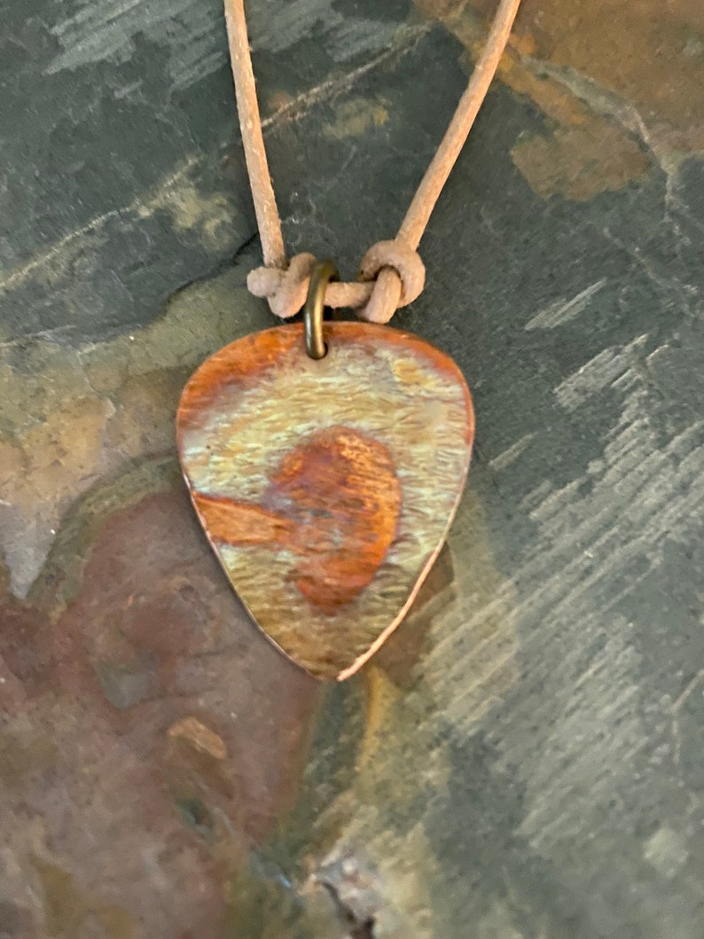 handmade MEN\u2019S GUITAR PIC...torched copper eclectic men\u2019s jewelry hippie