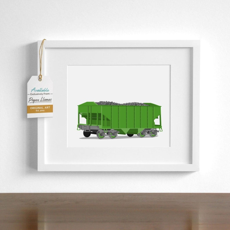 Boy's Vintage Train wall art print - coal car - pick your colors - Railroad  locomotive drawing