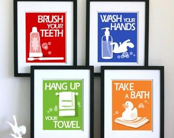 Bathroom Art Prints  - pick any 4 prints and choose your colors - children's bathroom rules- kids bathroom decor
