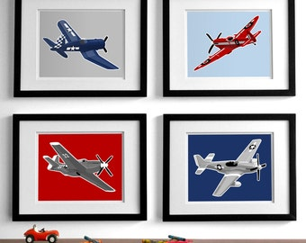 airplane nursery art - vintage airplanes childrens art  set of 4 vintage childrens wall art drawings, boys nursery art